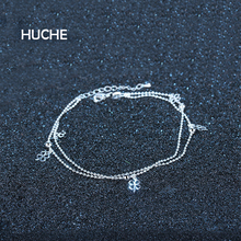 HUCHE Silver Color Clover Double Foot Chain Anklet For Women 2017 Cute Beach Accessories Copper Fashion Jewelry HYJF006