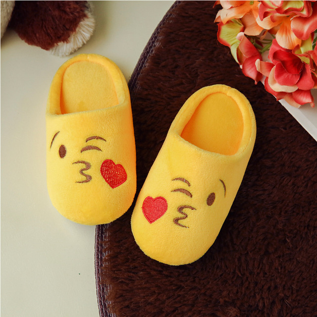 2017 kids Indoor Warm Emoji Slippers cute house slippers boys and ...
