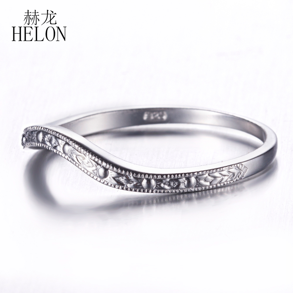 HELON Art Deco Women Trendy Jewelry Real 925 Sterling Silver Antique Classic Anniversary Wedding Bands Ring Setting