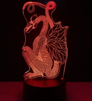 Pterosaurs Dragon 3D LED Lamp Chinese Style Paper Cut Dragon Night Light 7 Colors Change LED