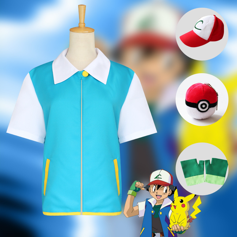 Free Shipping High Quality Pokemon Ash Ketchum Cosplay Costume Blue Jacket + Gloves + Hat +Ball Ash Ketchum Costumes
