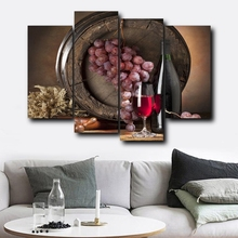 Laeacco Canvas Calligraphy Painting 4 Panel Wine Barrels Grape Posters and Prints Wall Art Nordic Home Living Room Decoration