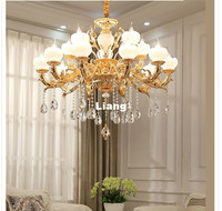 Free Shipping Zinc Alloy European Chandelier Lustre Jade K9 Golden Crystal Chandeliers Lighting Living Room LED Home Decoration