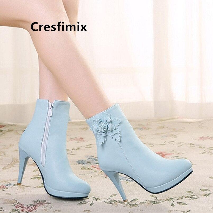 Cresfimix frauen mode spitz floral high heel stiefel damen casual blau stiefel herbst & winter stiefel Frauen Stiefel a6047