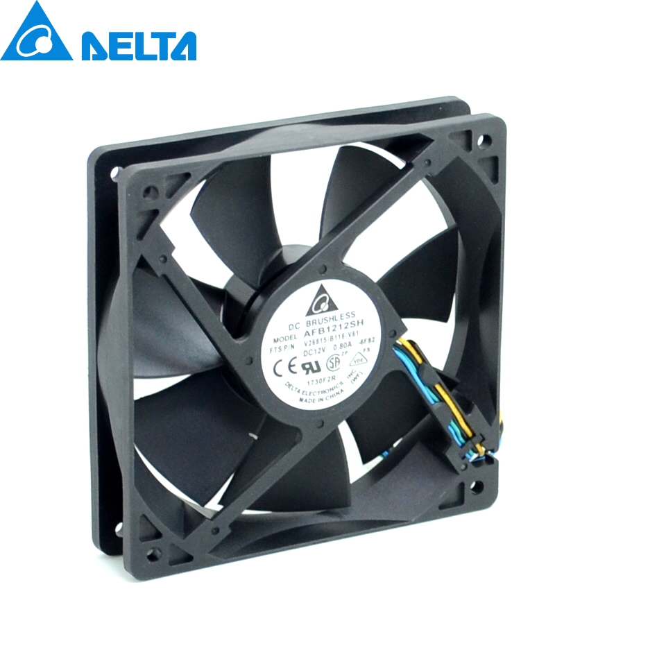 1pcs AFB1212SH 12CM 120MM 1225 12025 12 * 12 * 2.5CM 120 * 120 * 25MM 12V 0.80A Cooling Fan Good Quality free delivery original afb1212she 12v 1 60a 12cm 12038 3 wire cooling fan r00