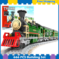 666pcs Creator Luxury Winter Holiday Trains Red Locomotive 25904 Model Building Blocks Railway Gifts Sets Compatible With Lego