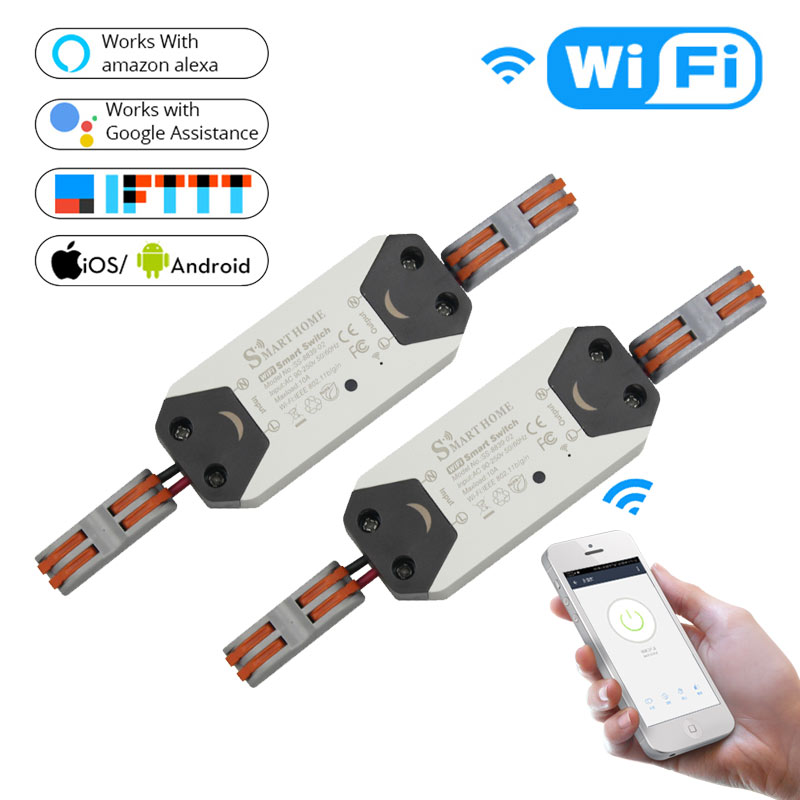 DIY WiFi Smart Light Switch Universal Breaker Timer Wireless Remote Control Works with Alexa Google Home Smart Home 2 Pieces 5ps lot sonoff smart wifi switch diy remote control wireless smart switch module 2200v for light smart home works with alexa