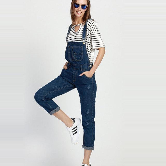 Hotsale de Moda Streetwear Jeans Mujer Plus Tamaño 4XL 5XL 3XL General Azul Ripped Loose Rayado Denim Jumpsuit General Femenino
