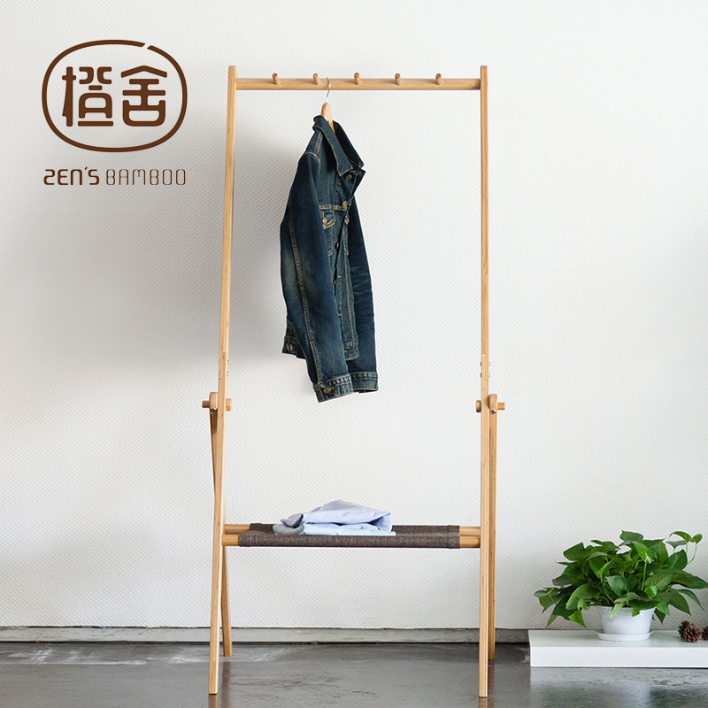 Купить с кэшбэком ZEN'S BAMBOO Clothes Rack Multi-function Clothing and Hat Hanger Folded Coat Racks Stand Home Furniture