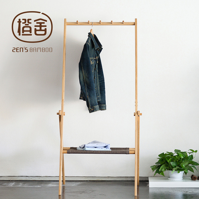 ZENS BAMBOO Clothes Rack Multi Function Clothing And Hat Hanger Folded Coat Racks Stand Home Furniture