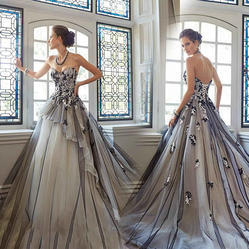 2016 nouveau stock grande taille femmes robe de mariée robe de soirée robe de bal noir sexy long grand train queue balayage train noir luxe 3185