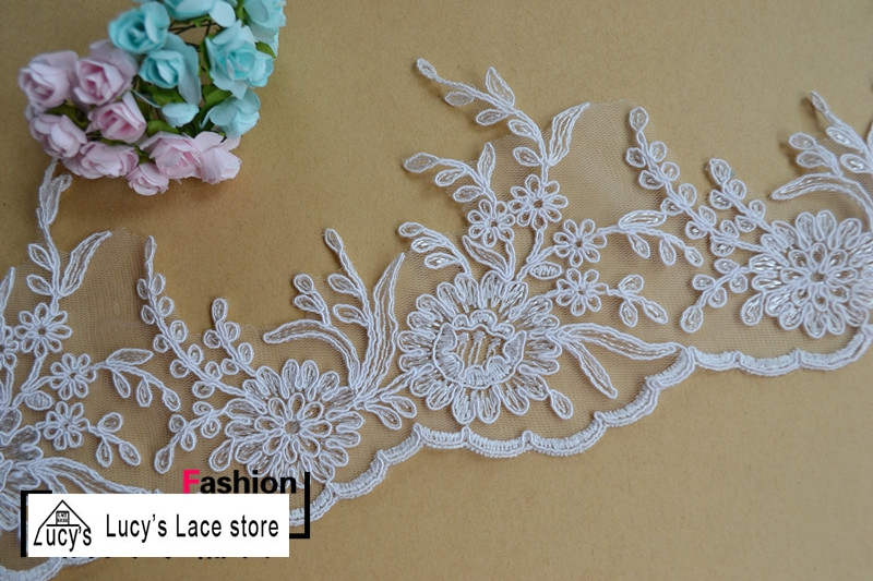 13CM 5 yards Off white/light ivory flowers lace trim so elegant women wedding veils decoration lace NEW!