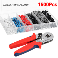 1500Pcs Crimper Cord Wire Connector Terminal Bootlace Ferrule Crimper Kit with Ratchet Crimping Tool End Terminal Block