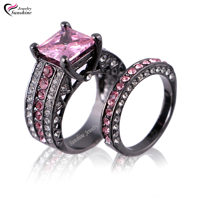 Pink Cubic Zirconia Black Plated Womens Black Gold Wedding Ring Set