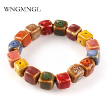 WNGMNGL Hot Sale Round Square Flower Shape beads bracelet lady Bohemia Ceramic stone charm women Bangles fashion christmas gift
