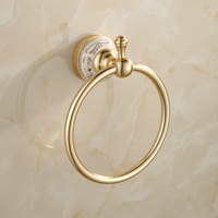Classic European Gold Luxury Space Aluminum Ceramic Brushed Towel Ring Bathroom Accessories Carved Towel Holders Towel Shelf