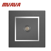 Free shipping Luxury MVAVA Universal Cable TV Network Electric Wall Station Socket Outlet ,50-60HZ, 800W,chromed frame PC panel