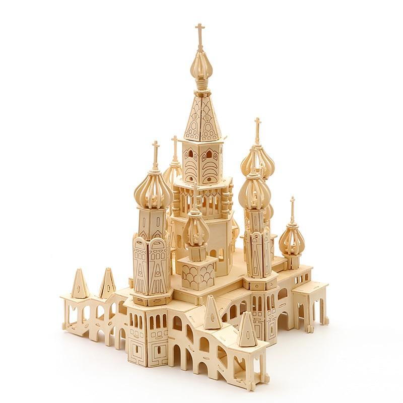 Strereo mosaïque bois Puzzle 3D haute difficulté Puzzle en bois bâtiment artisanal modèle bois bricolage artisanat - 2