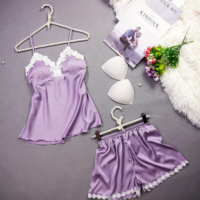QWEEK Lace Pajamas for Women Satin Pajamas Sets Nightwear Silk Sleepwear Female Vest+shorts with Chest Pads Home Clothing