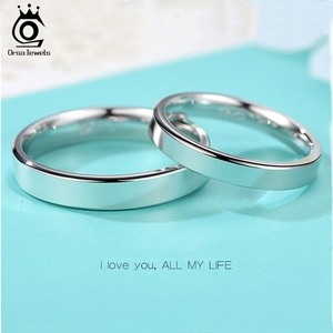 Image 3 - ORSA JEWELS 925 srebro mężczyźni kobiety pierścionki klasyczny prosty styl zwykły pierścień rocznica para obrączka biżuteria SR73