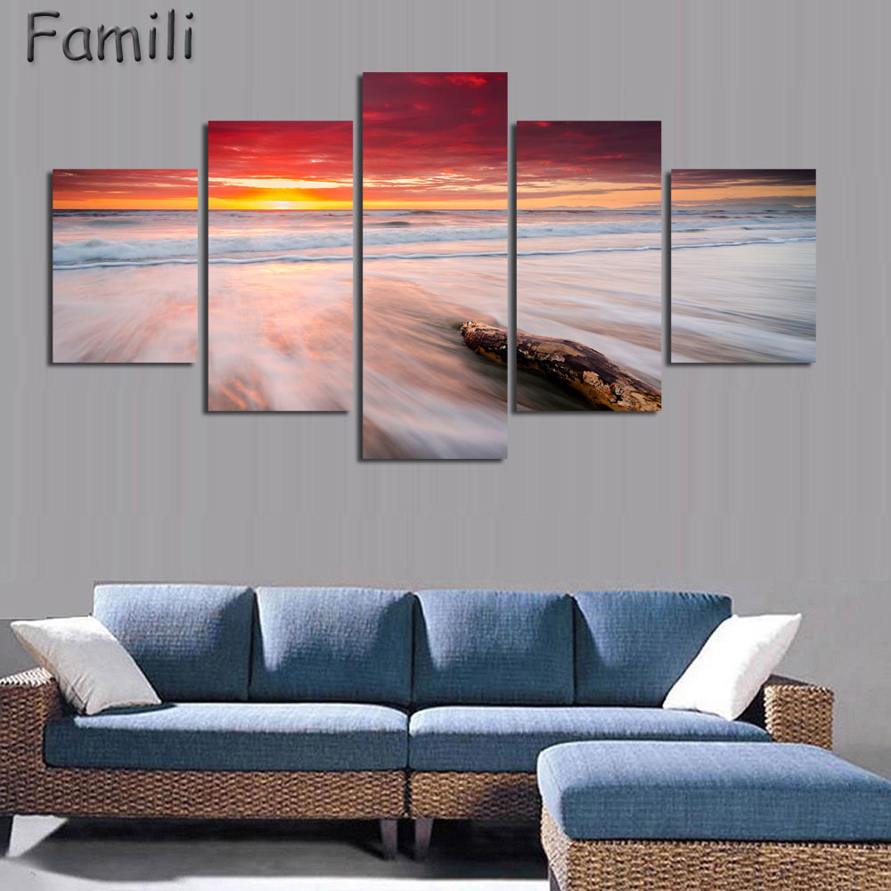 5pcs canvas painting nature scenery photos arts new - Landscape paintings for living room ...