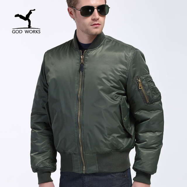 2017 New Military Style men bomber jacket Green Mens Slim Fit Hip ...