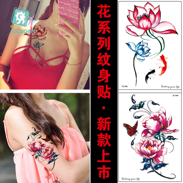 Arrvial Fashional Lotus Flower Tattoo Designs Butterfly Body Temporary Fake Tatoo Sticker Taty On Arm Chest Collarbone
