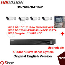 Hikvision Original English Outdoor CCTV System 4xDS-2CD2032F-IW 3MP IP WIFI Camera POE+6MP 4POE Recording NVR DS-7604NI-E1/4P