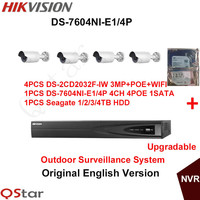 Hikvision Original English Outdoor CCTV System 4pcs DS 2CD2032F IW 4MP IP WIFI Camera POE 6MP