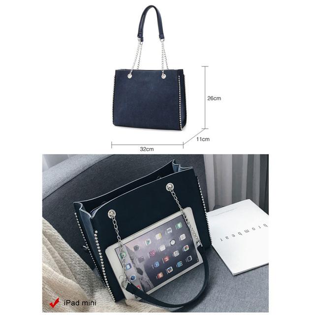 Fansiman 2018 New Luxury Big Pu Leather Rivet Casual Fashion Women's Shoulder Bag High-end Hign Capacity Handbags