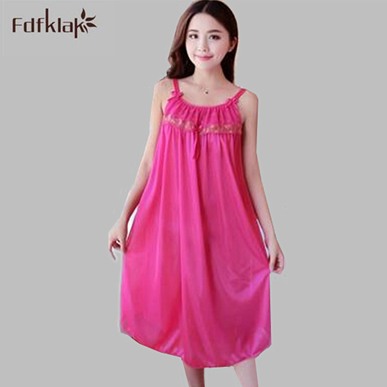 New loose large size women summer dress sexy spaghetti strap   nightgowns   female long homewear   sleepshirts   night dresses A527