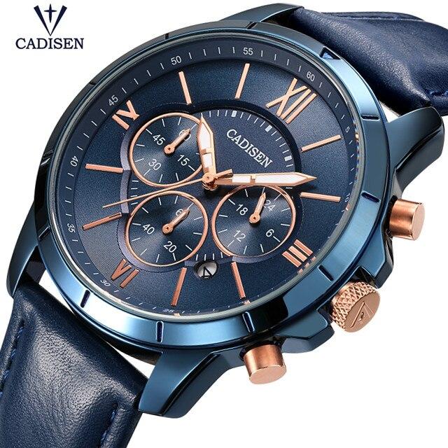 CADISEN hommes montres Top marque de luxe en cuir étanche Sport Quartz chronographe militaire montre-bracelet hommes horloge Relogio Hombre