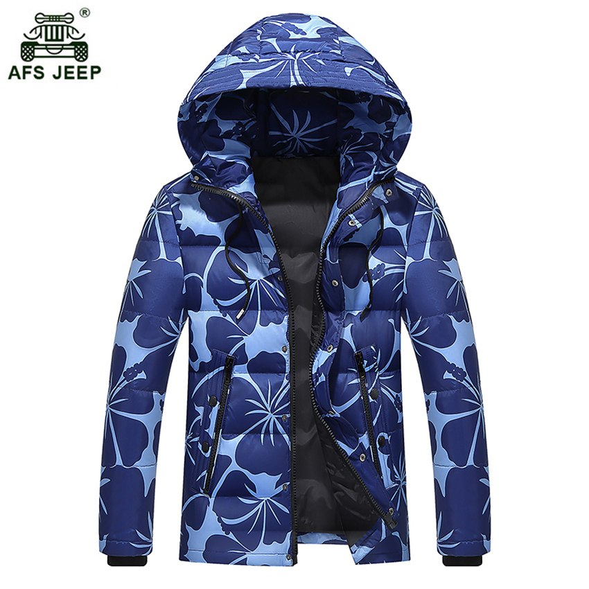 2017 New winter jacket mens fashion camouflage pattern Jacket thickening casual hooded fur collar white duck down coat xia210wy