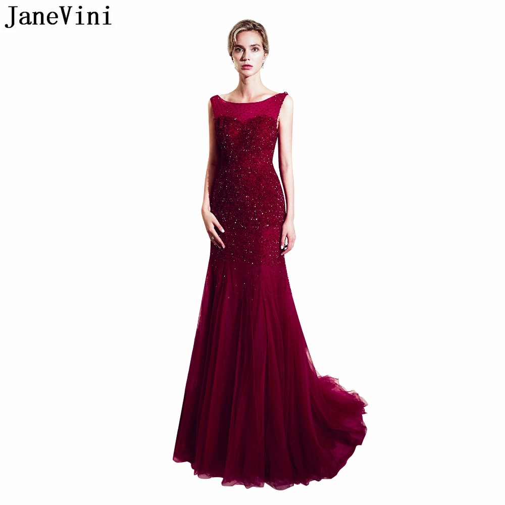 JaneVini Luxury Burgundy Scoop Neck   Bridesmaid     Dresses   Sequined Beaded A Line Prom   Dress   Backless Sweep Train Formal Party Gowns