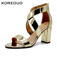 KOREDUO Sexy Women Summer Open Toes High HeelS Gladiator Sandals Gold Ankle Strap Celebrity Shoes Zapatos Tacones Sandalia mw