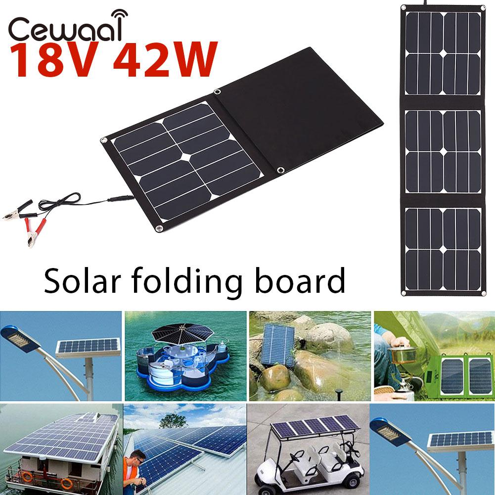 Folding Solar Pane USB+DC Port Durable Phone Charger Solar Generator 42W 18V Solar Charging Emergency Power Supply Portable portable solar charging panels outdoor travel emergency 24w 5v 18v solar power mobile phone gps bluetooth earphone solar charger