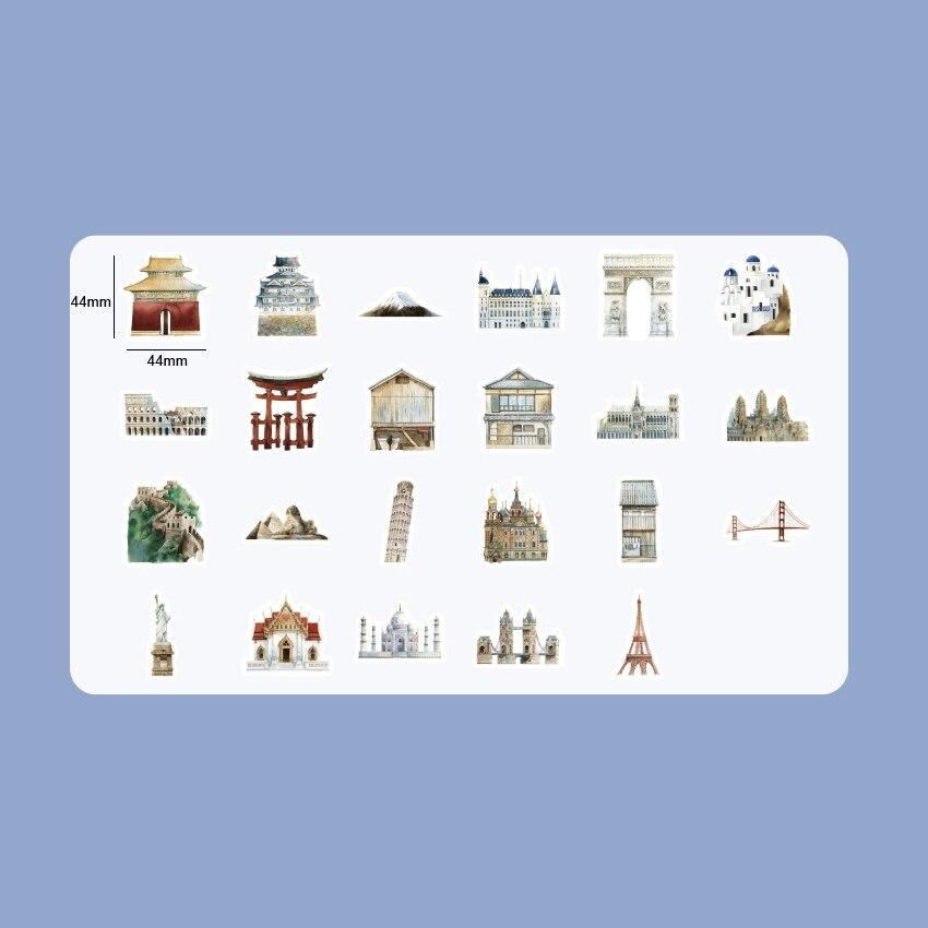 Купить с кэшбэком 46pcs/pack Kawaii World Architectural History Decorative Stickers Diary Album Label Sticker DIY Scrapbooking Stationery Stickers
