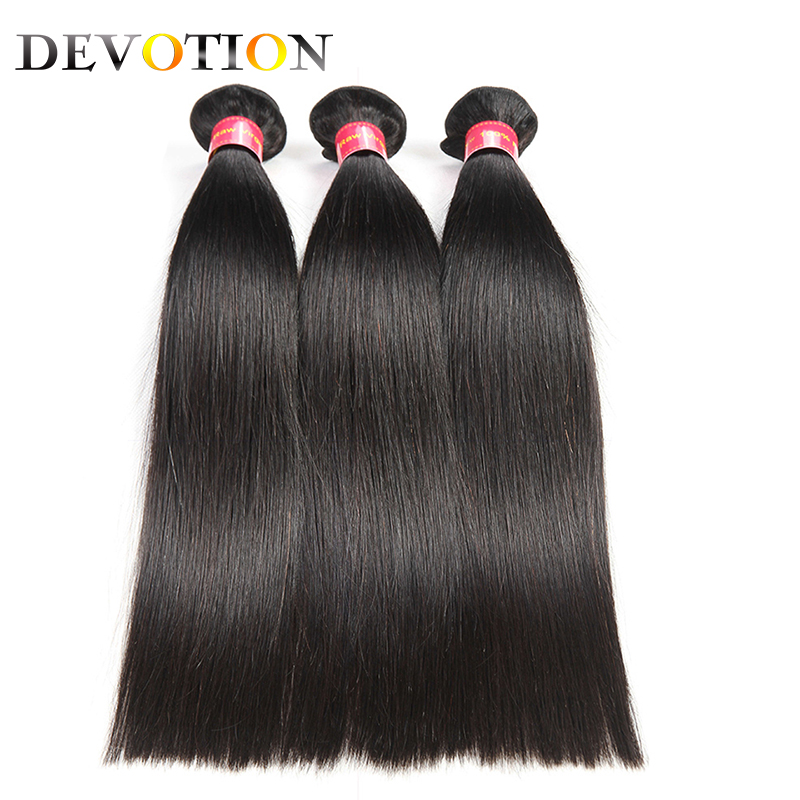 Devotion Indian Hair 3 Bundles Straight Human Hair Bundles Natural Color 8-28 Inch Can Be Dye Indian Non Remy Hair Extension
