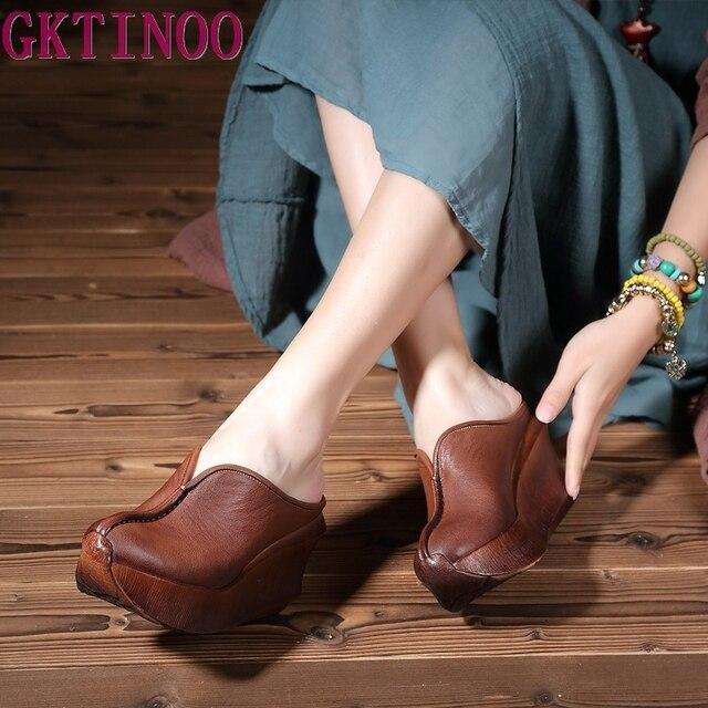 정품 가죽 여성 샌들 레트로 수제 플랫폼 웨지 양모 하이힐 여름 신발 휴관일 발가락 comfotable 여성 슬라이드