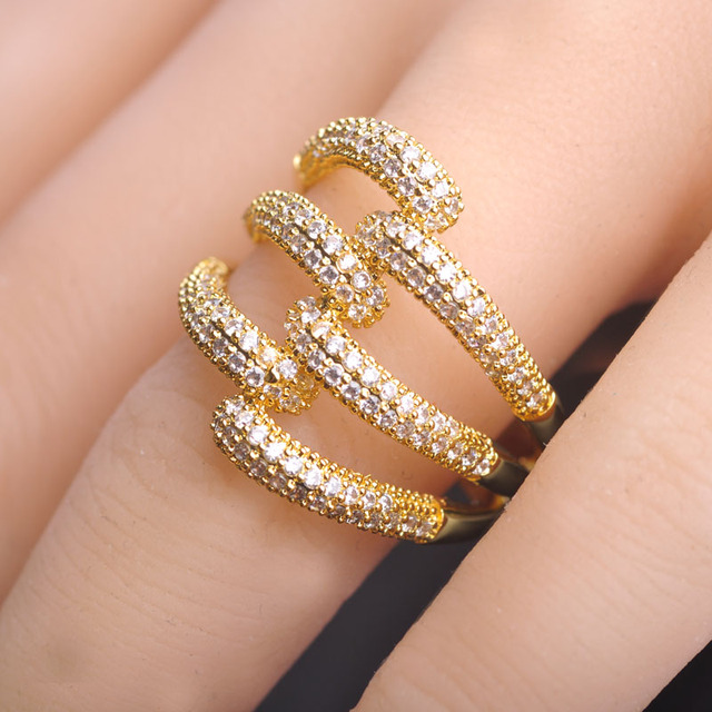 Blucome Copper Rings Gold Plated Hollow Out Wedding Party Women Engagement Anillos Mujer Joyas Fine Micro Pave Cubic Zircon Ring