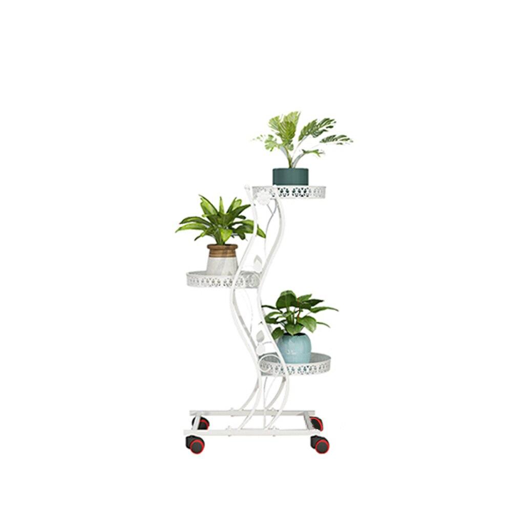 Plant Pot Stand Flower Display Shelf Rack Iron 3-5 Holders With Brakeable Wheels Garden Home Patio Indoor Outdoor