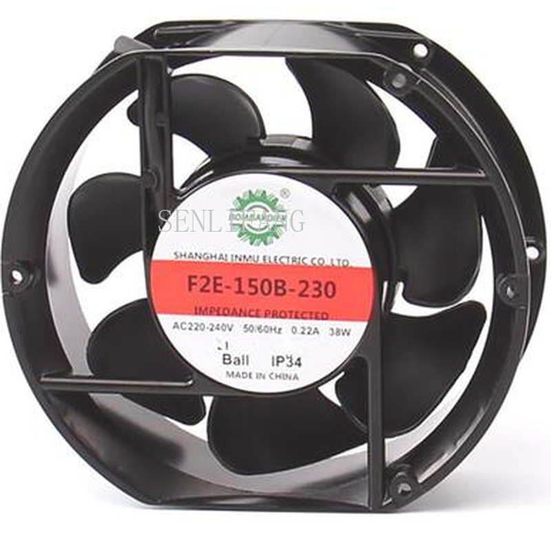Free Shipping F2E-150B-230 Axial Cooling Fan AC 220V-240V 0.22A 38W 2600RPM 17250 17cm 172*150*50mm 2 Wires 50/60HZ