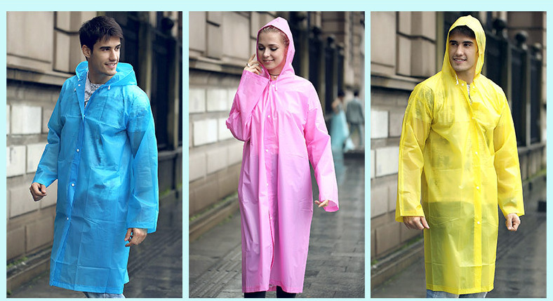 7.Fashion EVA Women Raincoat Thickened Waterproof Rain Coat Women Clear Transparent Camping Waterproof Rainwear Suit Rain jacket_