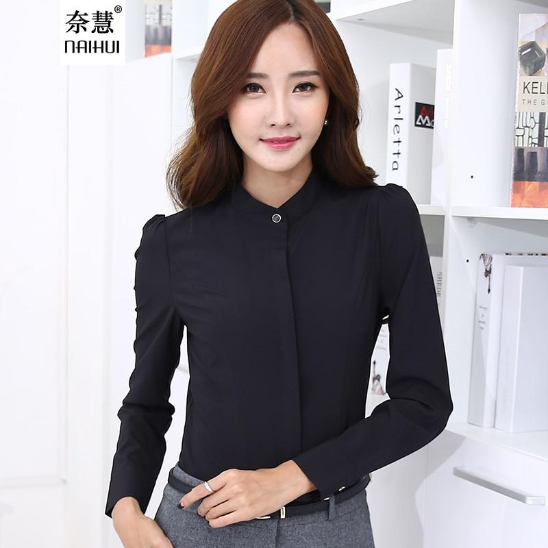 Lenshin Autumn fashion Black Shirt Women work wear Long Sleeve ...