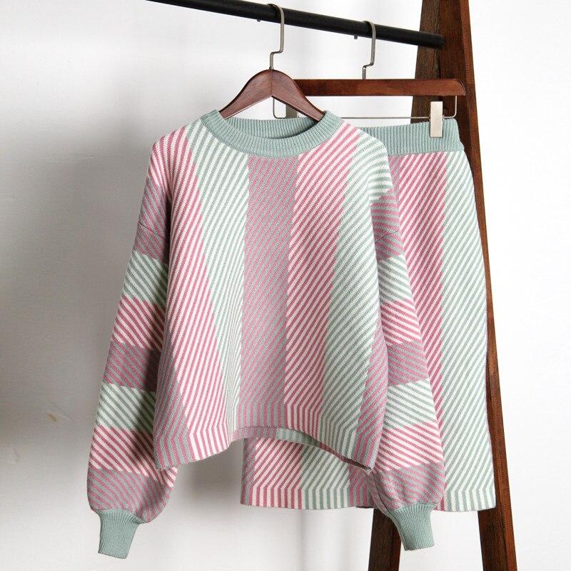 2019 nouvelle mode femmes jupe ensembles automne lanterne manches coloré rayé pull jupe costumes femme épaissir tricoté ensembles tenues