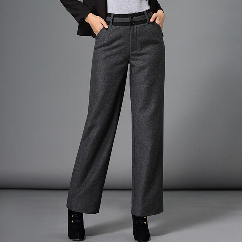 2019 autumn winter pants women fashion formal plus size woolen pants casual wide leg pants female