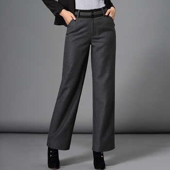 2019 autumn winter pants women fashion formal plus size woolen pants casual wide leg pants female black - DISCOUNT ITEM  10% OFF Women\'s Clothing