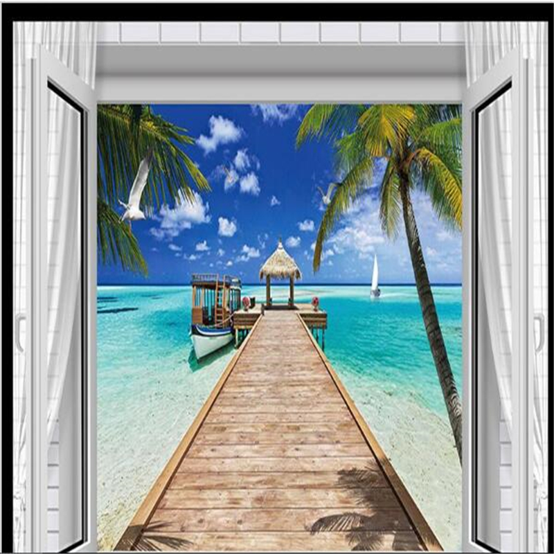 Popular wall panel 3d buy cheap wall panel 3d lots from for Beach wall mural cheap