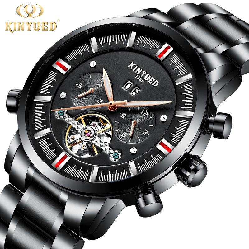 цены KINYUED Business Mechanical Skeleton Watch Men Stainless Steel Mens Fashion Brand Automatic Watches Luminous Male Wristwatches