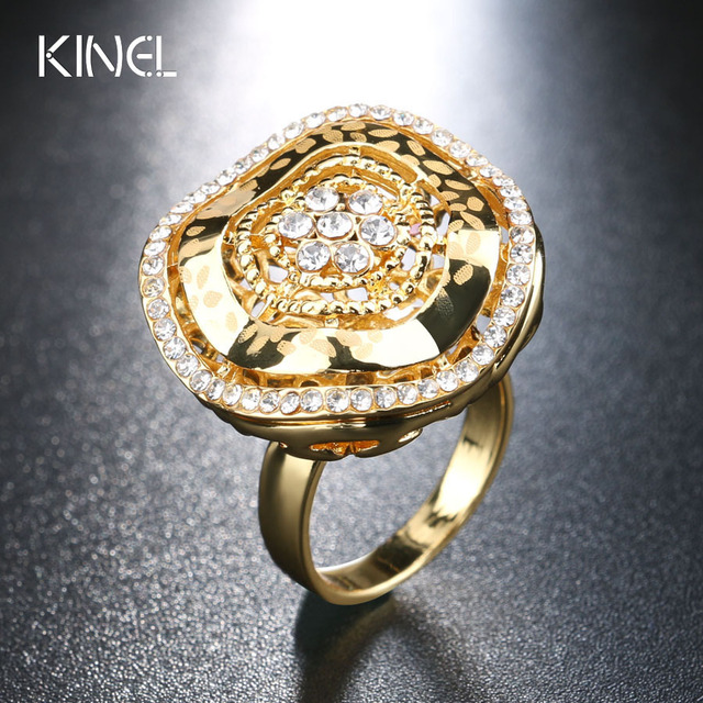 2017 New Vintage Wedding Ring Dubai Gold Color Aaa Crystal Flower